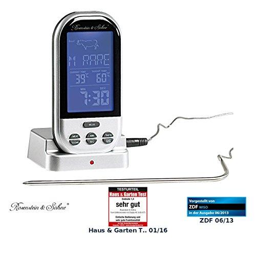 Rosenstein & Söhne Bratenthermometer: Funk-Brat-/Grillthermometer, externes XXL-Display, 8 Fleischsorten (Fleischthermometer Funk)