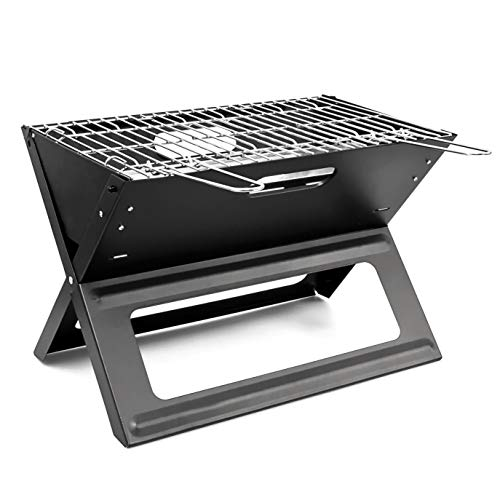 Relaxdays Klappgrill, praktisch, tragbar, inkl. Rost und Kohleschale, H x B x T: 30,5 x 30 x 45,5 cm, schwarz
