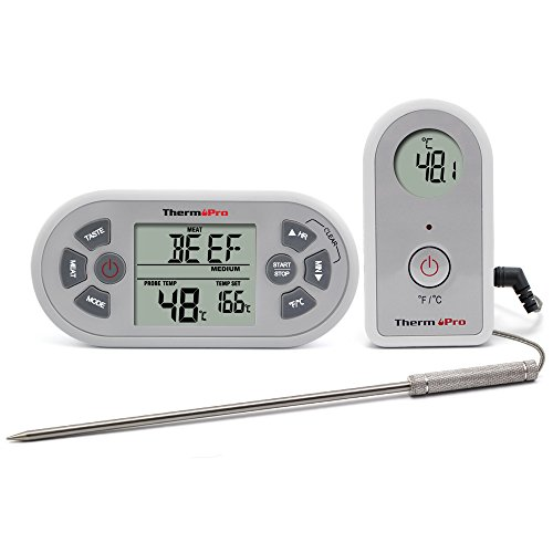 ThermoPro Digitales TP21 Funk-Grill-Bratenthermometer Wireless Grillthermometer Ofenthermometer BBQ Küche Thermometer mit Timer und Stoppuhr Funktion