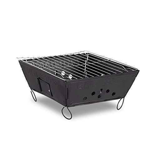Relaxdays Outdoor Klappgrill, mobiler Campinggrill, Stahl Tischgrill HBT: 12 x 25 x 25 cm, schwarz
