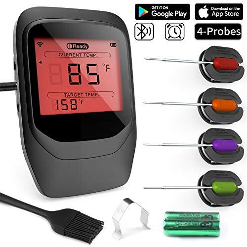 Gifort Digitales Fleischthermometer, Grillthermometer BBQ Thermometermit 4 Sonden, Funk Thermometer Bratenthermometer für Küche, Smoker, Steak, Unterstützt IOS, Android