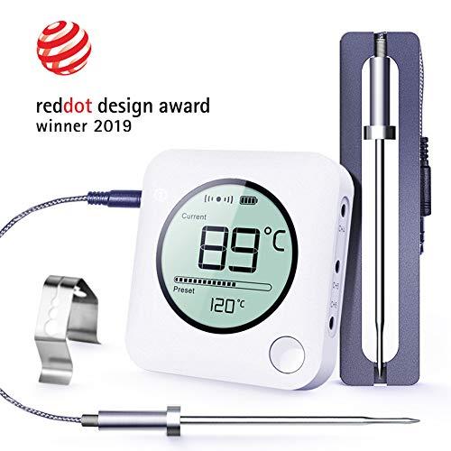 BFOUR Digital Bluetooth Grillthermometer Fleischthermometer Funk Bratenthermometer mit Zeitmesser, 2 Temperaturfühlern Sonden, Hintergrundbeleuchtung LED Display Sofortiges Auslesen