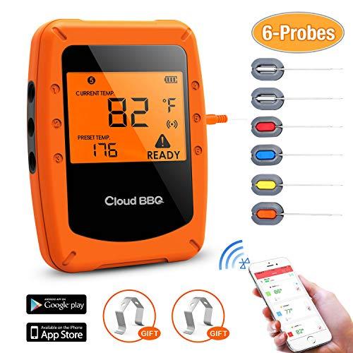 Movaty Digitale Grillthermometer, Bratenthermometer,Funk,instant,meater,Bluetooth, BBQ Steak Thermometer mit 6 Sonden, Fleischthermometer, Unterstützt IOS, Android für Küche, Grill, Backen