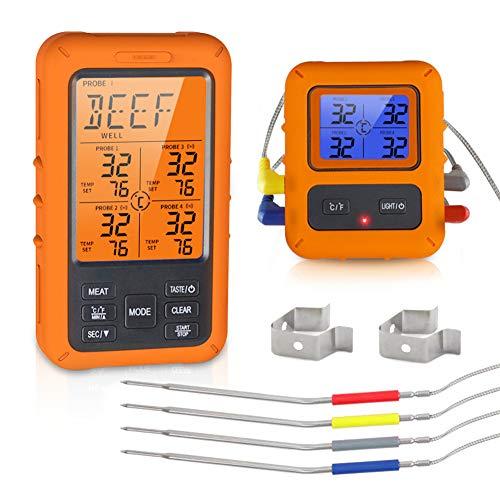 Powcan Fleischthermometer Funk Bratenthermometer mit Zeitmesser, ℉ / ℃ Sofort gelesenes Grillgrillthermometer mit 4 Sonden, Timer, großem LCD-Display, Alarm, Digitales Grillthermometer