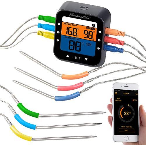 Rosenstein & Söhne Funk Grillthermometer: Profi-Grillthermometer mit Bluetooth und App, Farb-Display, 6 Fühler (Thermometer Bluetooth)