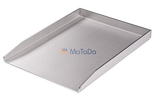 MaTaDa Edelstahl Grillplatte massiv I BBQ Plancha 30 x 40cm - Universalgröße passend für viele Gas- und Kohlegrills