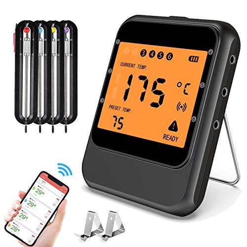 MinSoHi Digitales Grillthermometer Bratenthermometer mit Timer, Barbecue Fleischthermometer Funk mit 4 Sonden Magnetische Kochthermometer für Raucher, Backofen, Grillofen, Unterstützt IOS, Android