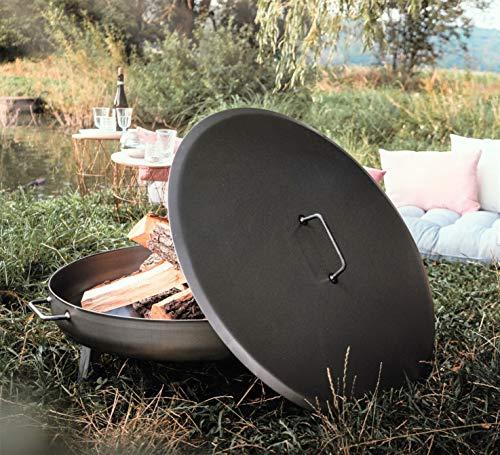 Czaja Stanzteile Deckel für alle Feuerschalen ; einfaches Ablöschen der Feuerschale ohne Wasser und zum Schutz vor Regen (Stahl, Ø80cm)