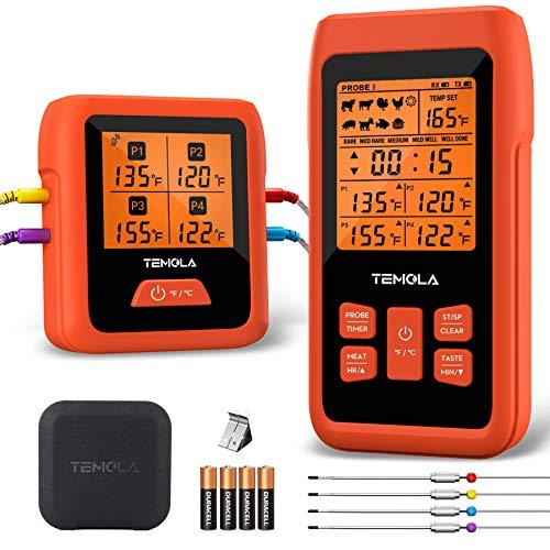 Grillthermometer Funk Fleischthermometer, TEMOLA TM40 Küchenthermometer mit 4 Temperaturfühlern LCD Bildschirm 490FT Bratenthermometer Ofen für BBQ Grill Smoker Steak,EPP Tragetasche enthalten(Orange)