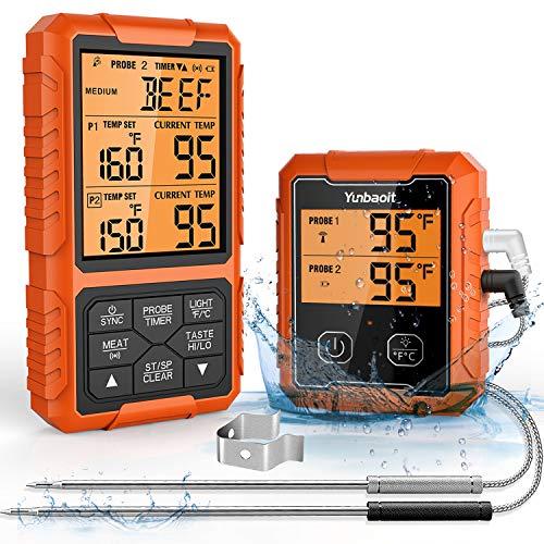 Fleischthermometer Grillthermometer Funk, Yunbaoit Digital BBQ Thermometer Bratenthermometer, 500 FT Küchenthermometer kabellos mit 2 Edelstahlsonde, Sofortiges Auslesen, für BBQ Ofen Grills Braten