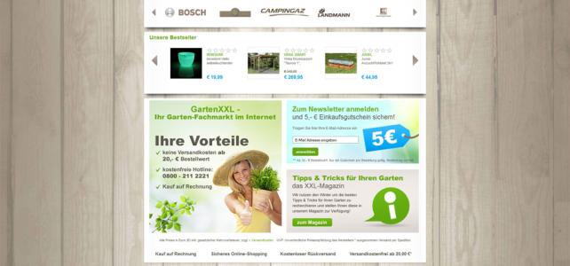 Startseite des Onlineshops Garten XXL
